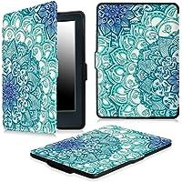 PUBAMALL Funda para Kindle Paperwhite, con la función Auto Sleep Wake para Kindle Paperwhite (Flor Azul)