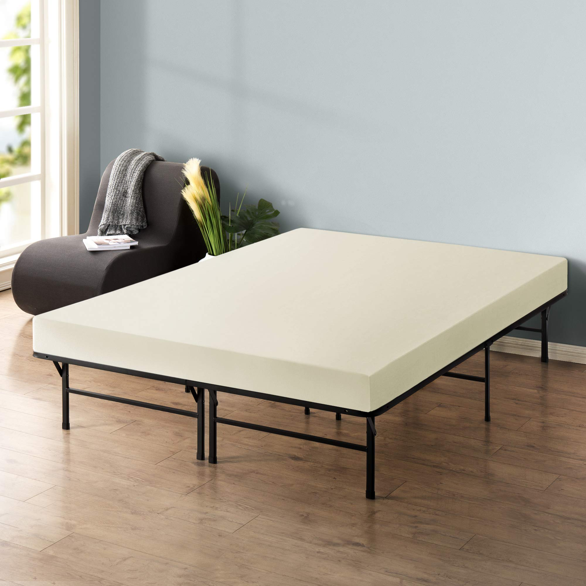 Best Price Mattress 6'' Memory Foam Mattress and 14'' Premium Steel Bed Frame/Foundation Set, Twin