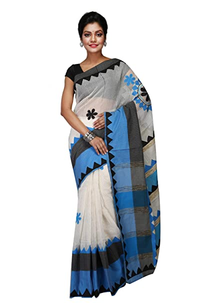 9b7a95c5ea FabStyleIndia Women's Silk Bengal Handloom Applique Work Matka Saree with  Blouse Piece (KhadicottonSaree006, Multicolour): Amazon.in: Clothing &  Accessories