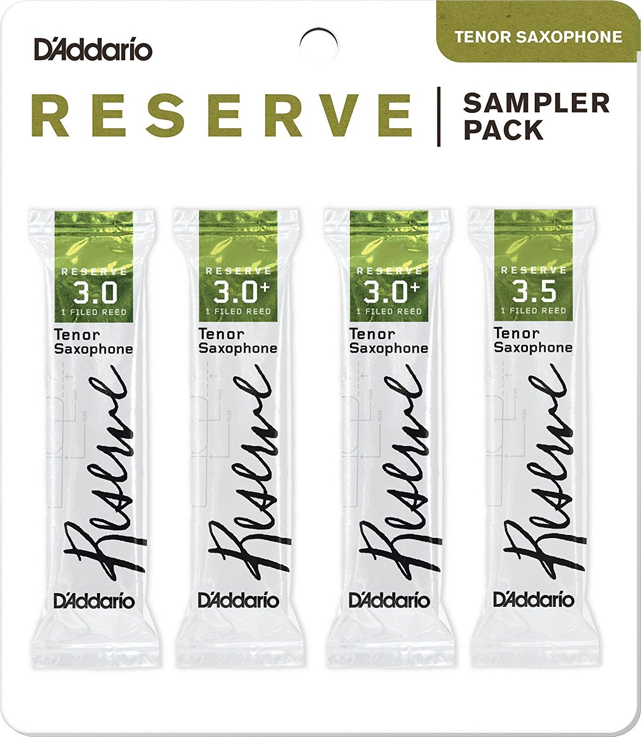 D'Addario Woodwinds DRS-K30 Reserve Tenor Saxophone Reed Sampler Pack, 3.0/3.0+/3.5