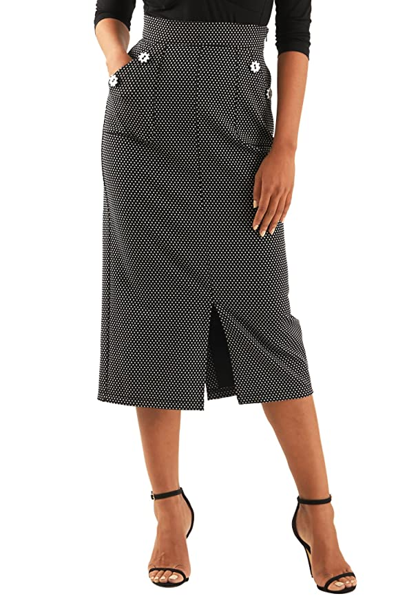 Retro Skirts: Vintage, Pencil, Circle, & Plus Sizes eShakti Womens Large button pocket jacquard knit skirt $46.95 AT vintagedancer.com