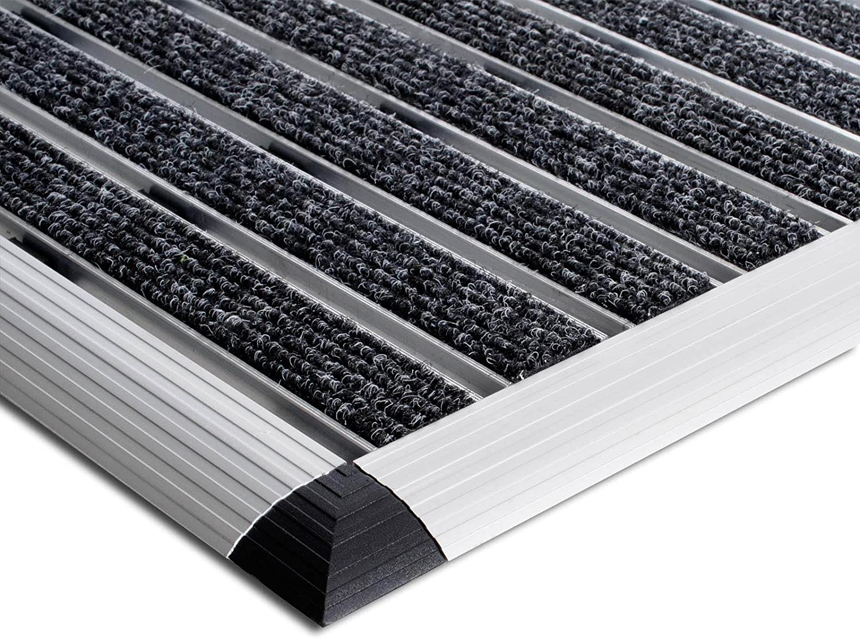 Elegante Alumatte mit robusten B/ürsten wetterfest etm Fu/ßmatte mit Aluminium Rahmen f/ür au/ßen 40 x 60cm Beige 3 Gr/ö/ßen