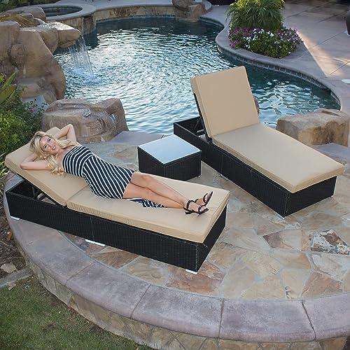 BELLEZE Rattan Wicker Aluminum 3 pc Chaise Lounge Chair w/Side Table Set Black