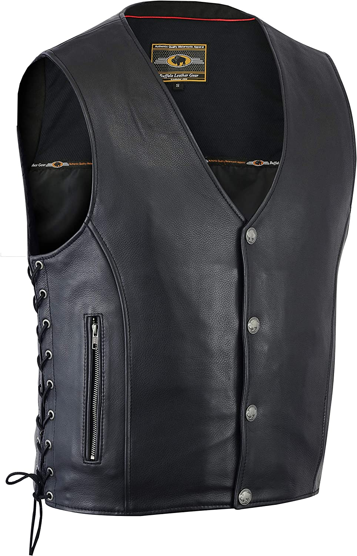 Buffalo Leather Men's Side lace Vest with Buffalo Snaps