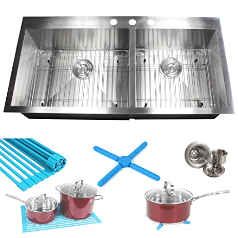 Contempo Living Inc Ariel 16 Gauge Stainless Steel 43 Inch Double Bowl  Kitchen Sink With