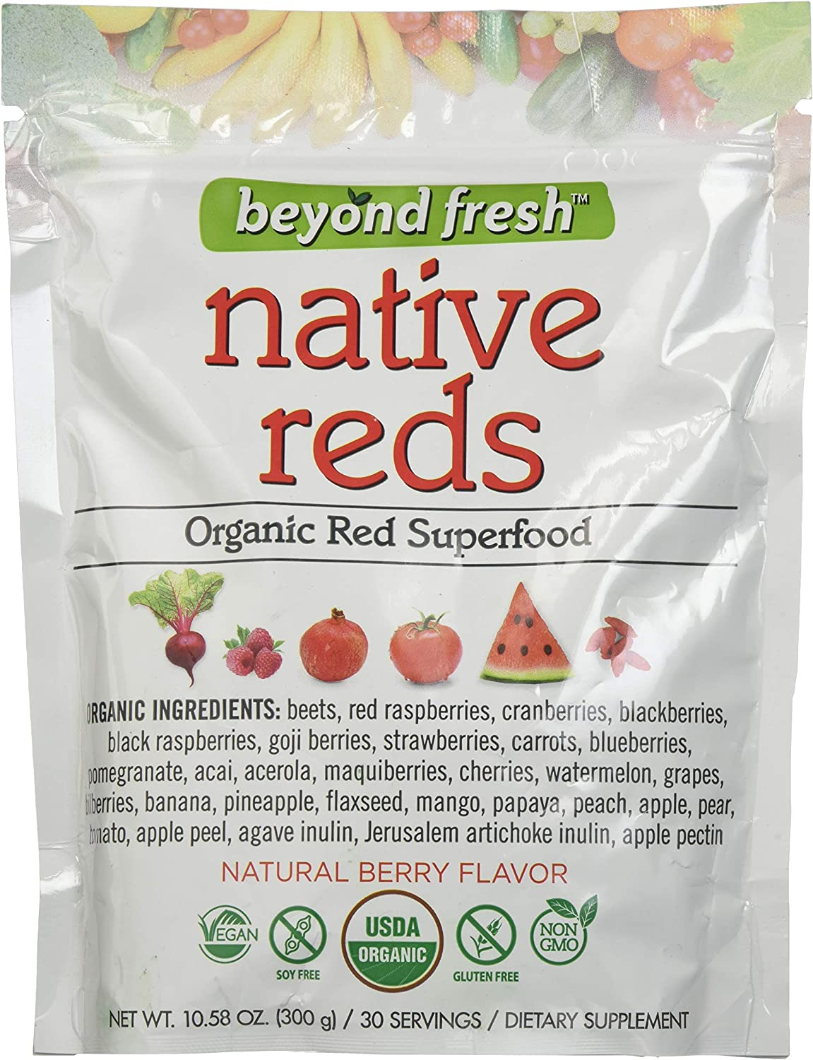 BEYOND FRESH Native Reds Organic Red Superfood Natural Berry Flavor, 300 Grams, 300 Gram