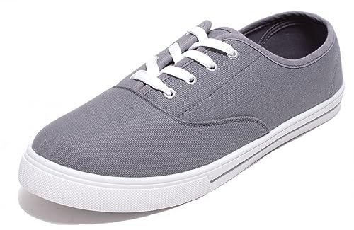 new concept 95bca 87639 Zapato Damen Herren Jungen Mädchen Freizeitschuhe Schnürer Halbschuhe  Canvas Sneaker Grau Weiß Gr. 37-46