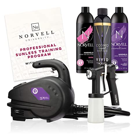 Norvell Sunless Kit - M1000 Mobile HVLP Spray Tan Airbrush Machine + 8 oz Tanning Solutions