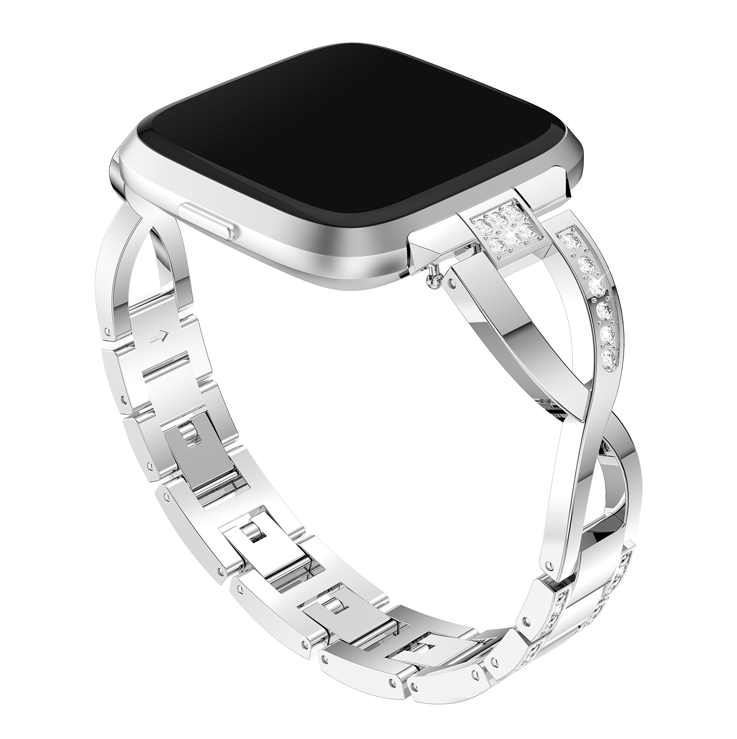 patrohoo For Fitbit Versa Metal bands, Replacement Assesories Straps for Fitbit Versa Women/Men Silver Rose Gold Black(Silver)