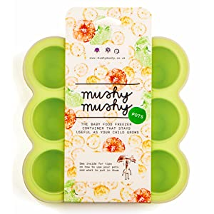 Baby Food Storage Container by Mushy Mushy - 9 Easy To Remove Weaning Pots - Non Toxic BPA Free Silicone Freezer Trays with Recipe eBook to Help You Give Your Baby the Best Start in Life (Green)