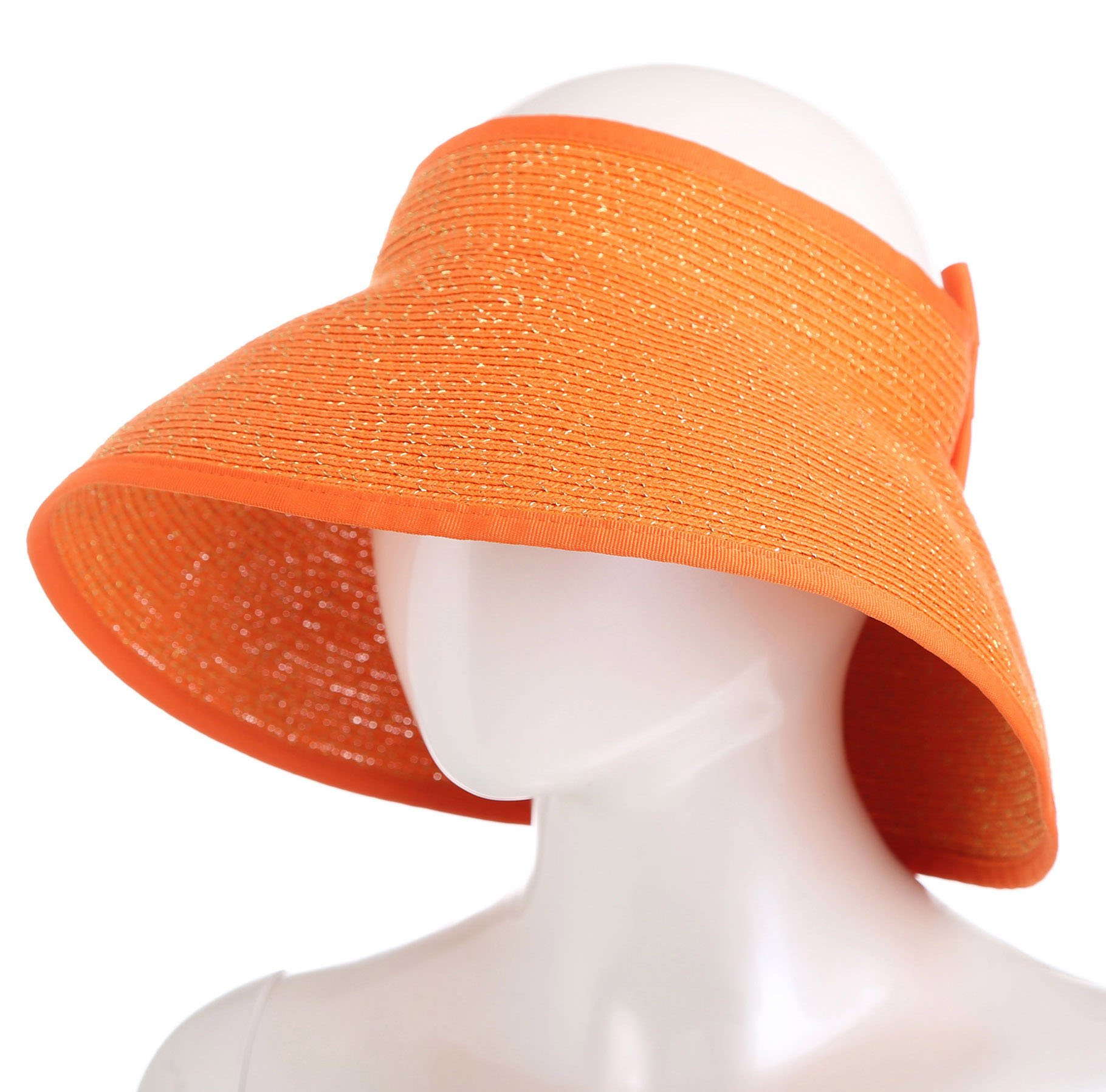 SunviewGolf svg Women's Summer Sun Golf Visor Beach Straw Hats Wide Brim Foldable Orange
