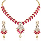 Atasi International Pink Gold Plated Strand Necklace Earring Set For Women