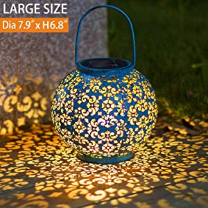 Solar Big Lantern Hanging Garden Outdoor Lights Metal Waterproof LED Table Lamp Decorative (Blue) (Blue)