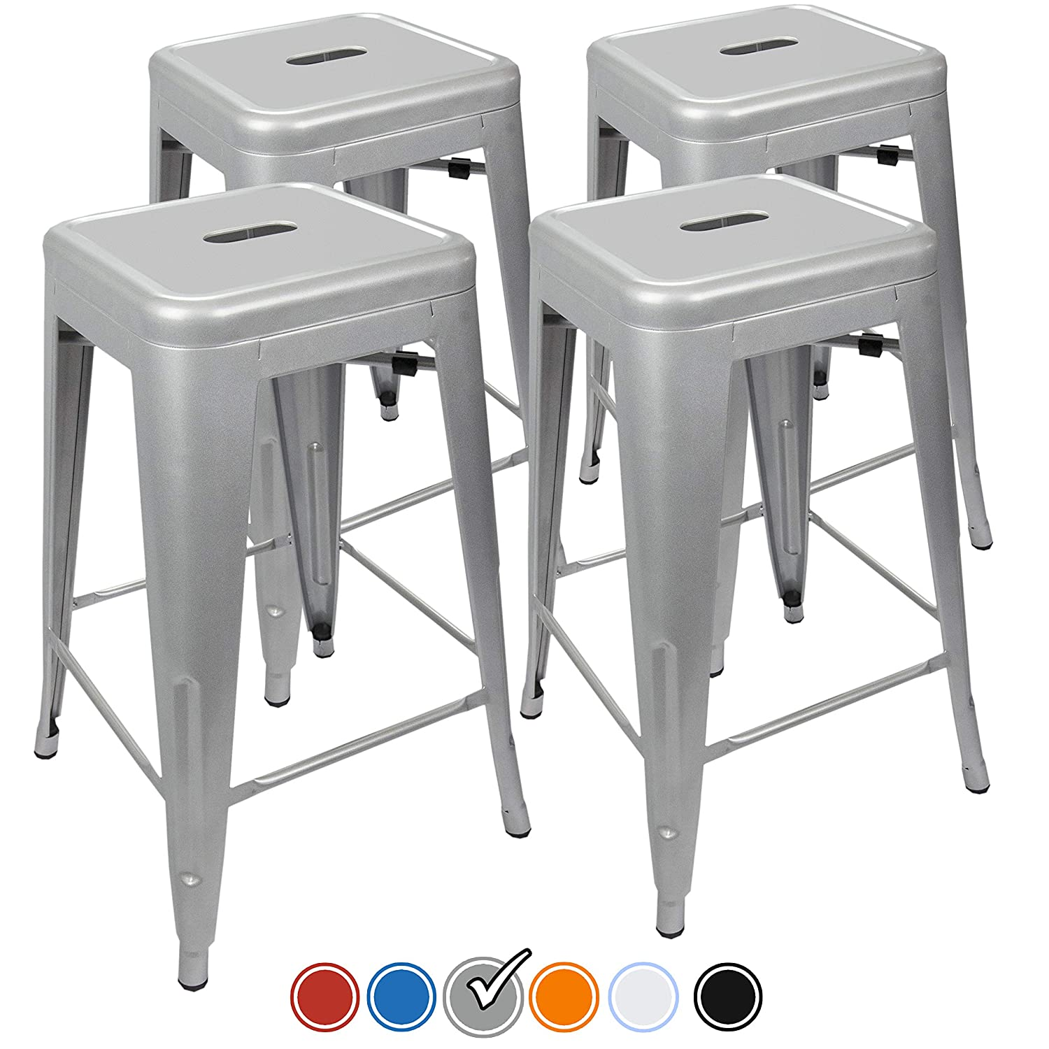 UrbanMod 24 Counter Height Bar Stools 330lb Capacity Gray Kitchen Chair Island Outdoor Industrial Galvanized Metal, Silver