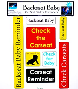 Backseat Baby - Reminder Stickers - Pack of 15 Clings, Stickers & Decals
