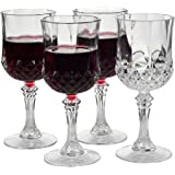 Home-X - Elegant Unbreakable Hard Plastic Crystal Goblets | Ideal For Wine & Champagne | Perfect Stem Glass For Parties, Wedd