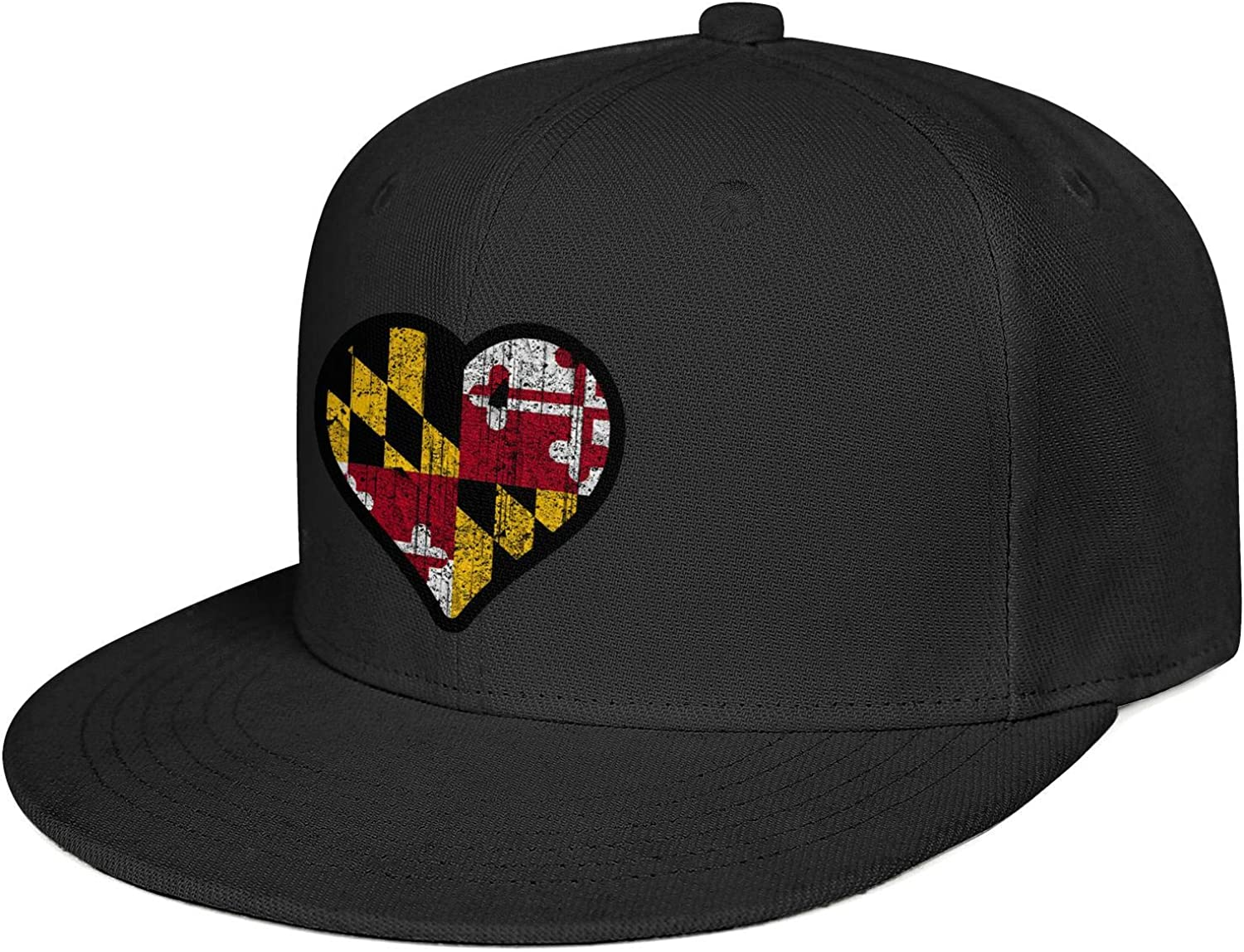dtykm Maryland Flag Distessed Heart Baseball Caps Fashion Snapback Hats Mens Adjustable Snapback Flat Brimmed Hats for Men