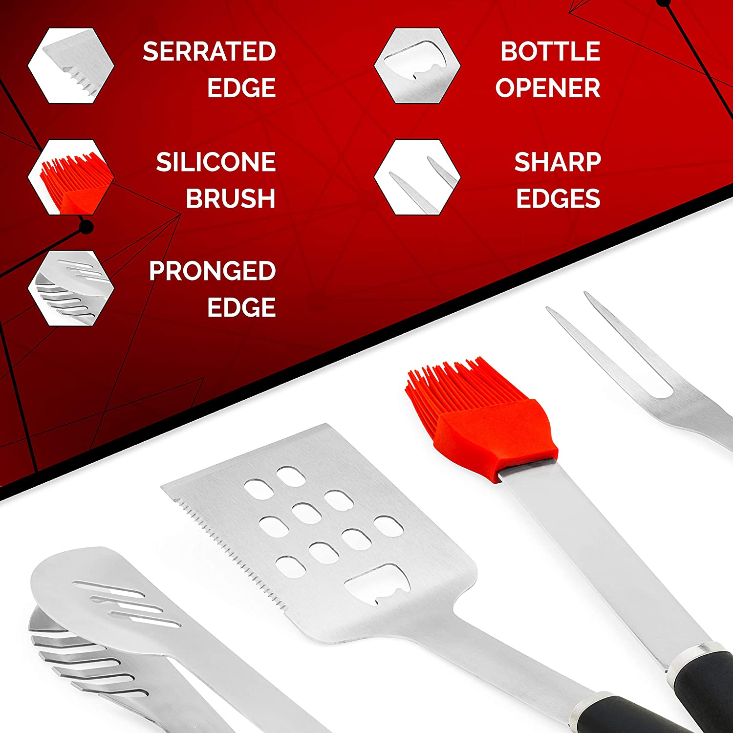5 Piece BBQ Accessories Set Includes Tongs Spatula Fork Silicon Basting Brush and Instant Read Digital Ultimate BBQ Grill Tools Set with Meat Thermometer /& 4 Stainless Steel Grilling Accessories