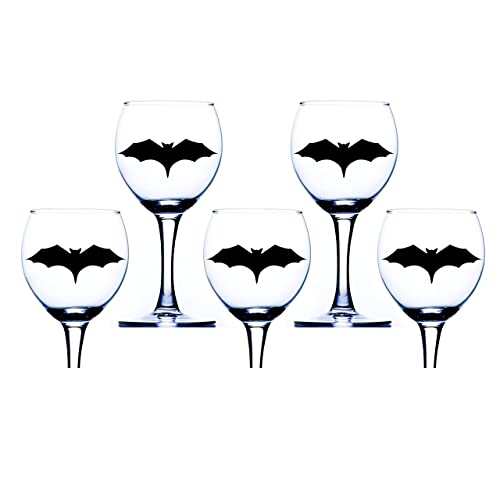 Halloween Wine Glass Stickers Spooky Black Bat Sticker Decorations - Vinyl decals for wine glasses uk