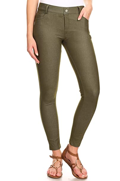 e4eda3f0ec433 ICONOFLASH Women's Army Green Jeggings with Pockets - Pull On Skinny  Stretch Colored Jean Leggings Size