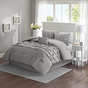 Comfort Spaces Cavoy Ultra Soft Hypoallergenic Microfiber Tufted Pattern 5 Piece Comforter Set Bedding, King, Gray