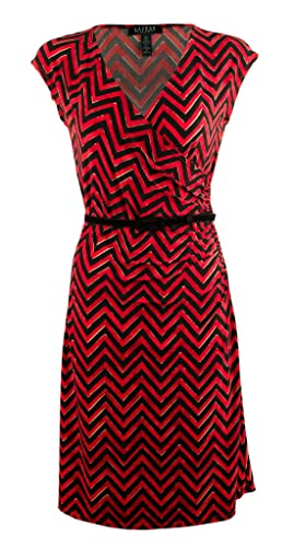 Lauren Ralph Lauren Womens Plus Chevron Faux-Wrap Casual Dress