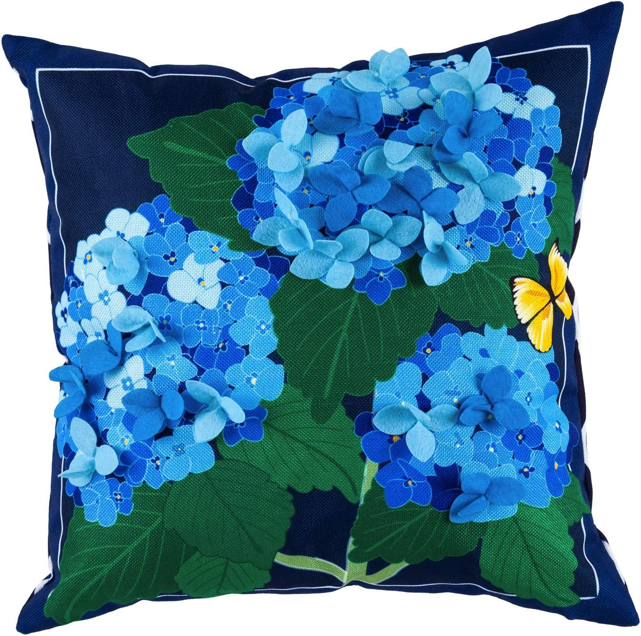 Evergreen Flag Hydrangea Blossoms Interchangeable Pillow Cover Durable and Well Made Home and Garden Décor for Lawn Patio Yard