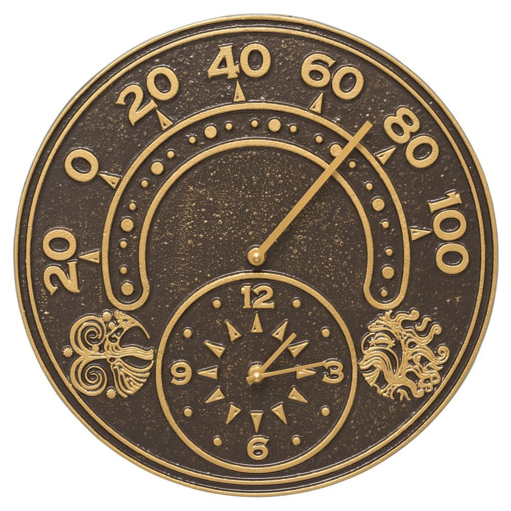 Whitehall Products Sun and Wind 14-in. Indoor/Outdoor Wall Clock and Thermometer