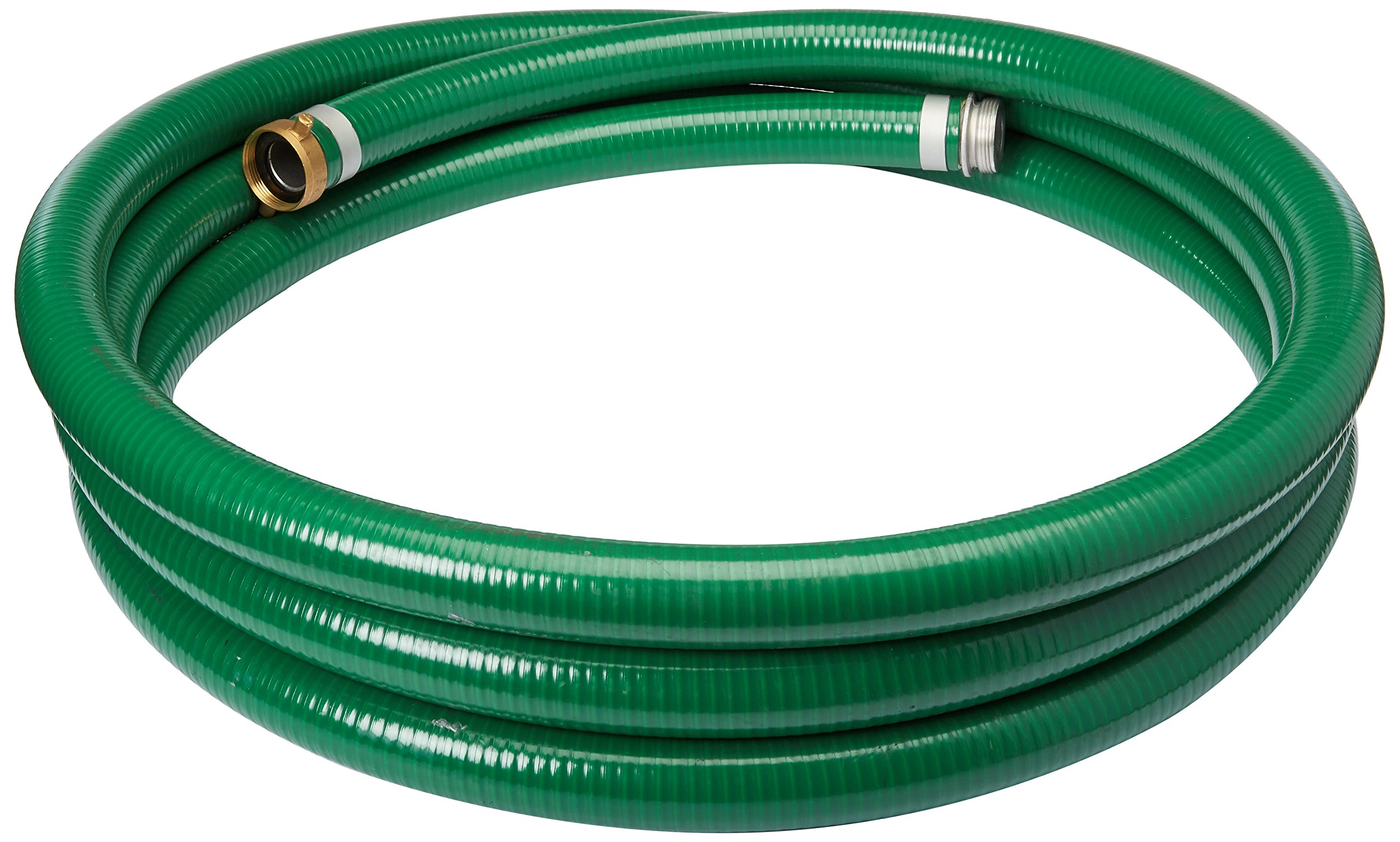 Apache 98128010 1-1/2'' x 20' PVC Style G (Green) Suction Hose with Aluminum Pin Lug Fittings