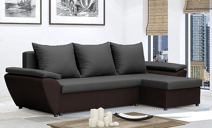 Sofá cama, esquinero, marrón y crema, tela resistente al ...