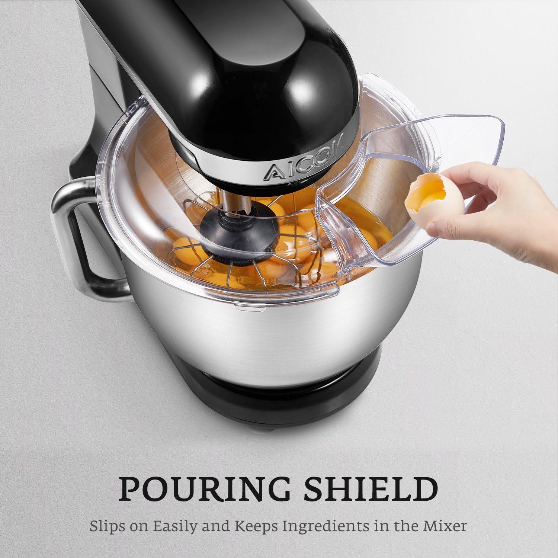 Amasadora eléctrica de cocina Aicok de 1000 W con cabezal doble para masa, accesorios para batir, protector antisalpicaduras, 6 velocidades y cuenco de acero inoxidable de 5 litros, en color negro: Amazon.es: