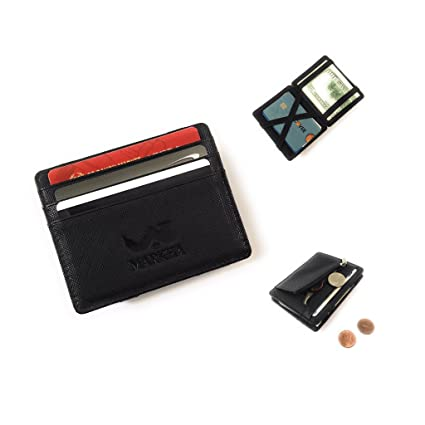 5e28f374066e Amazon.com: MARKHA Magic Wallet for Men Compact Bifold Leather RFID ...