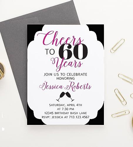 Amazon Com Cheers To 60 Years Birthday Invitation Cheers To 60