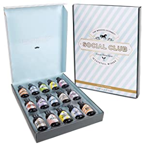 Thoughtfully Gifts, Social Club Cocktail Mixers Gift Set, Premium Natural Flavors Include Cosmo, Blood Orange Margarita, Mango Mimosa and More, Pack of 15 (Contains NO Alcohol)