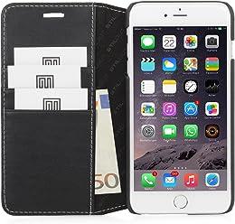 StilGut Talis avec fonction de support, housse portefeuille fine en cuir pour iPhone 6s Plus (5.5 pouces), noir nappa