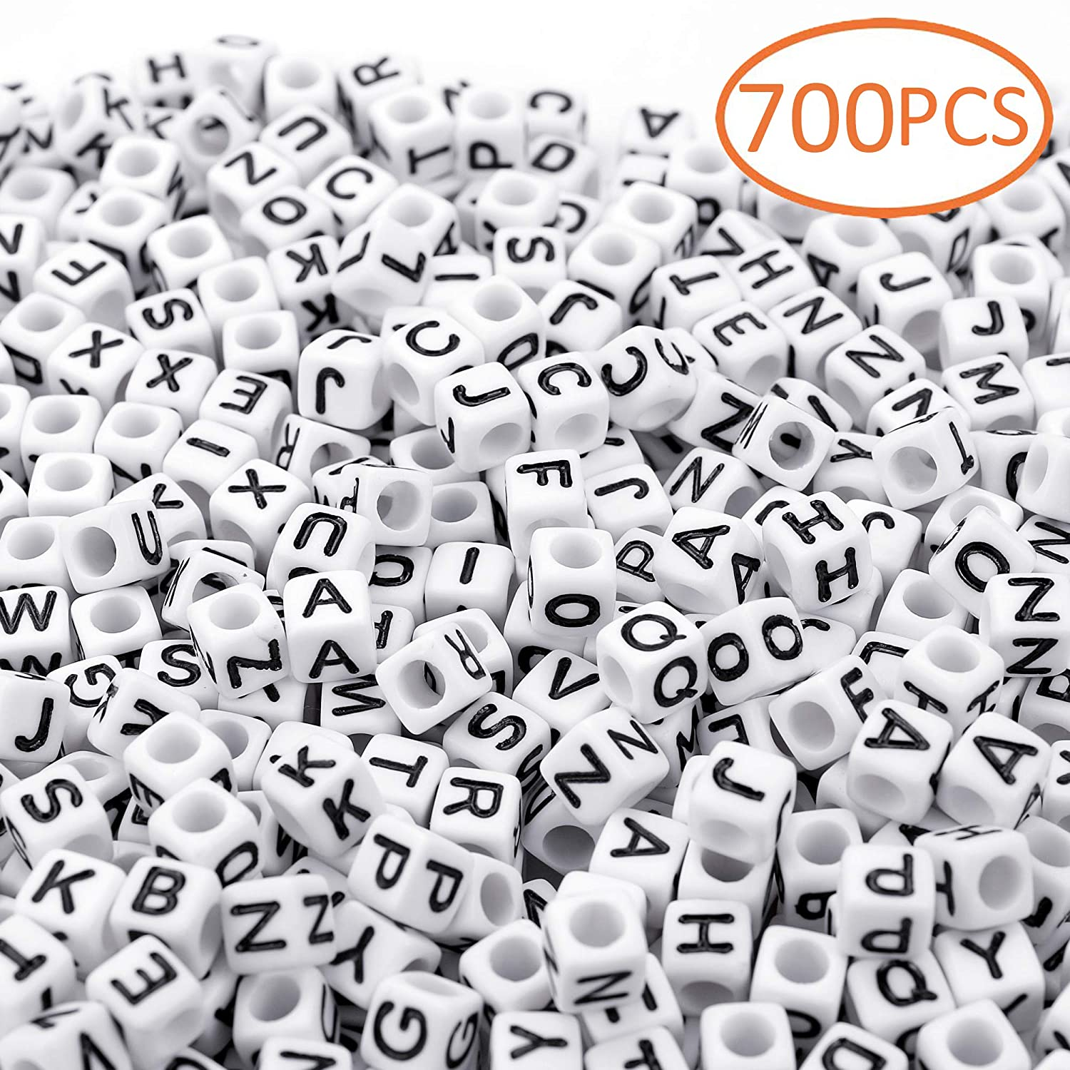 6mm 700PCS White Letter Cube Beads for Jewelry Making DIY Necklace Bracelet
