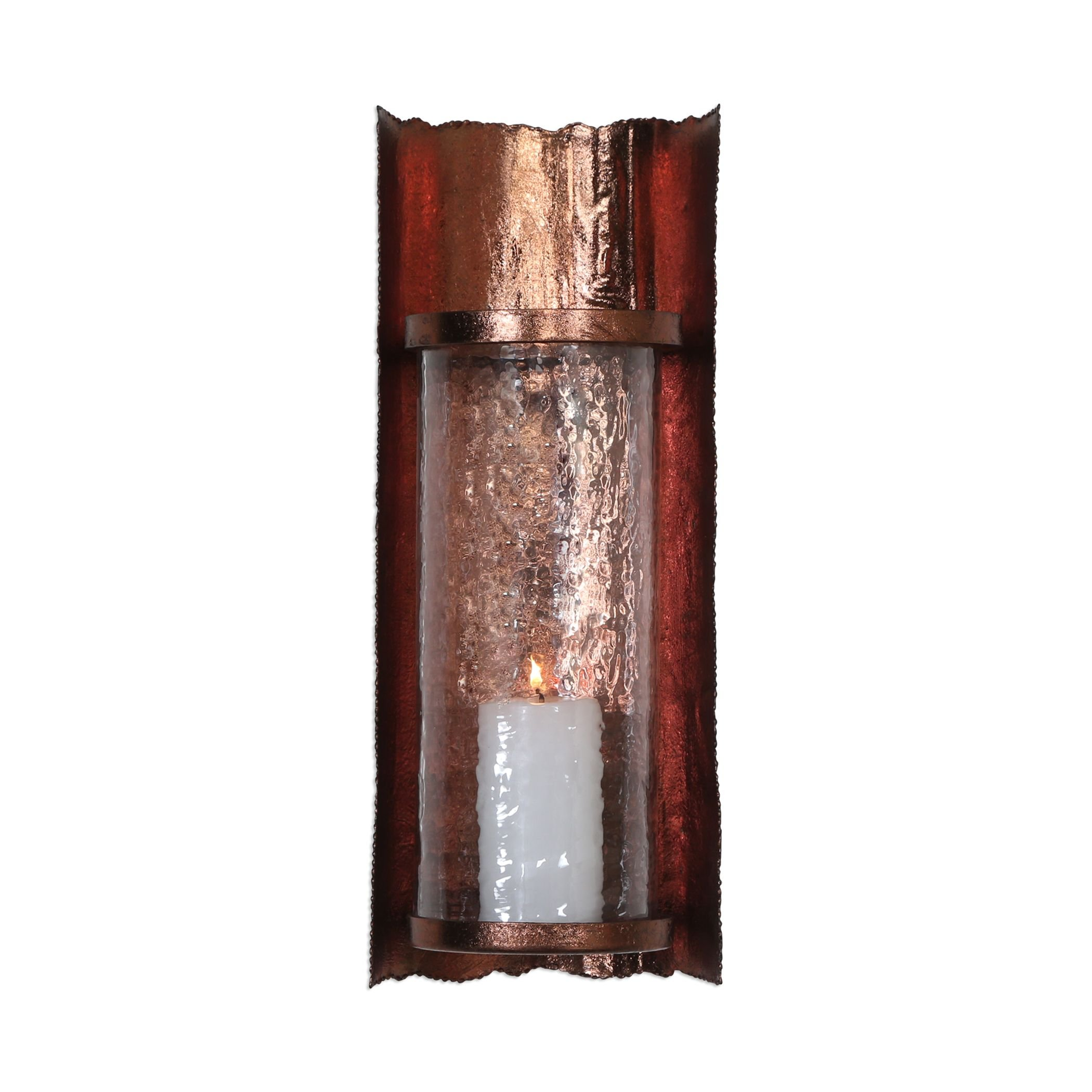 Rustic Vintage Antique Style Wall Candle Sconce   Copper Finish Metal Primitive