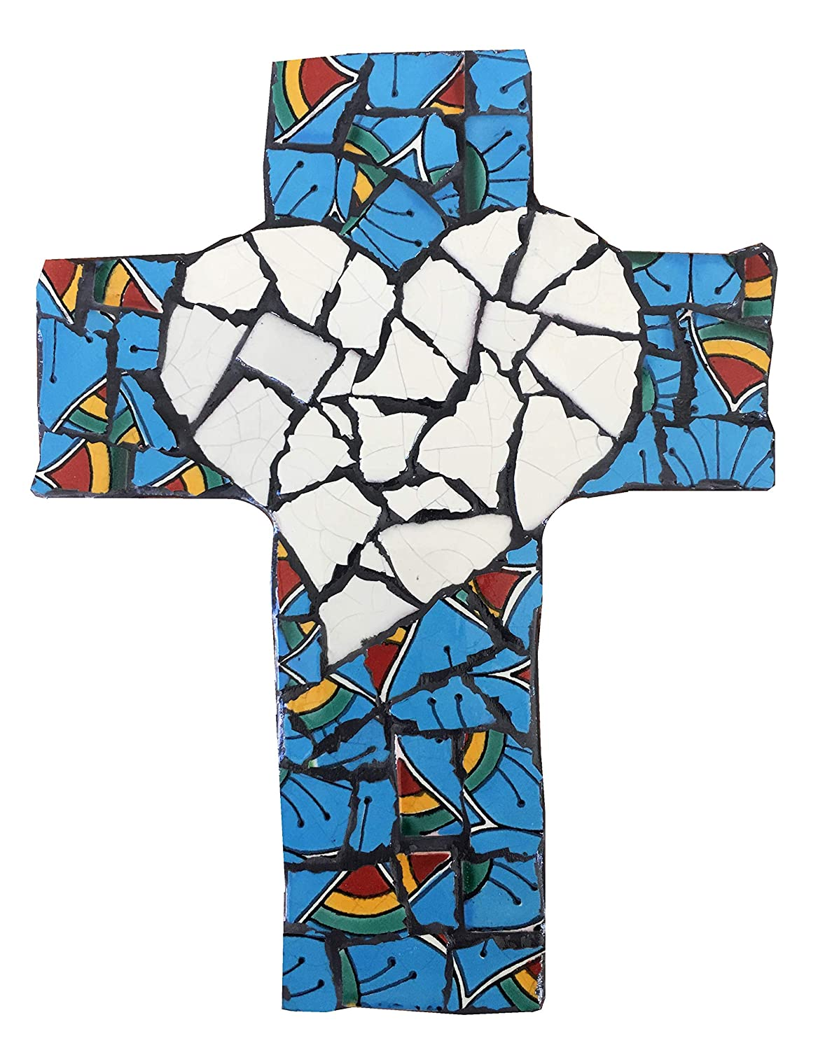 Teal Mexican Tile Talavera Wall Cross 9 inch X 6 inch Handcrafted Mosaic Ivory Heart with Teal Mexican Ceramic