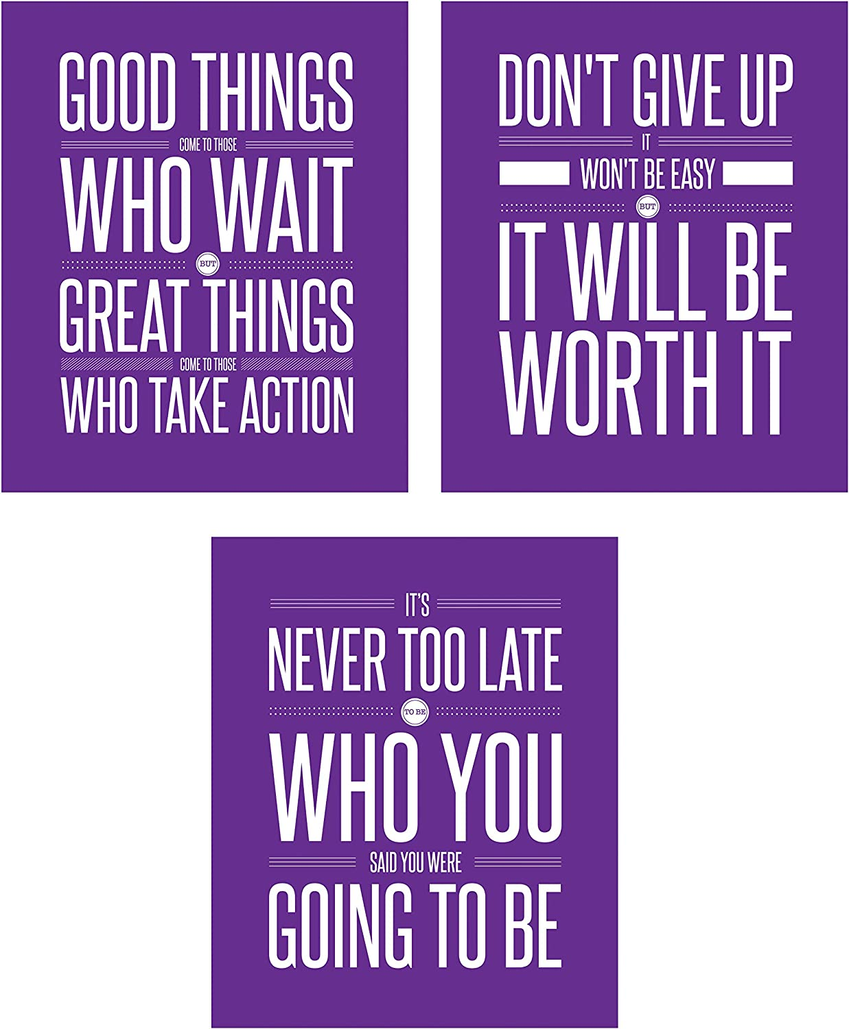 Don't Give Up 3 Poster Set Motivational Inspirational Quote Wall Workout Sports Art Boy Girl Teen Fitness Wall Home Decor Office Classroom Dorm Room Gym Entrepreneur (8 x 10 Purple)
