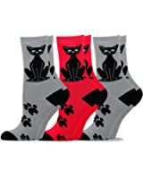 TeeHee Women's Fun Cats Cotton Crew Socks 3-Pack