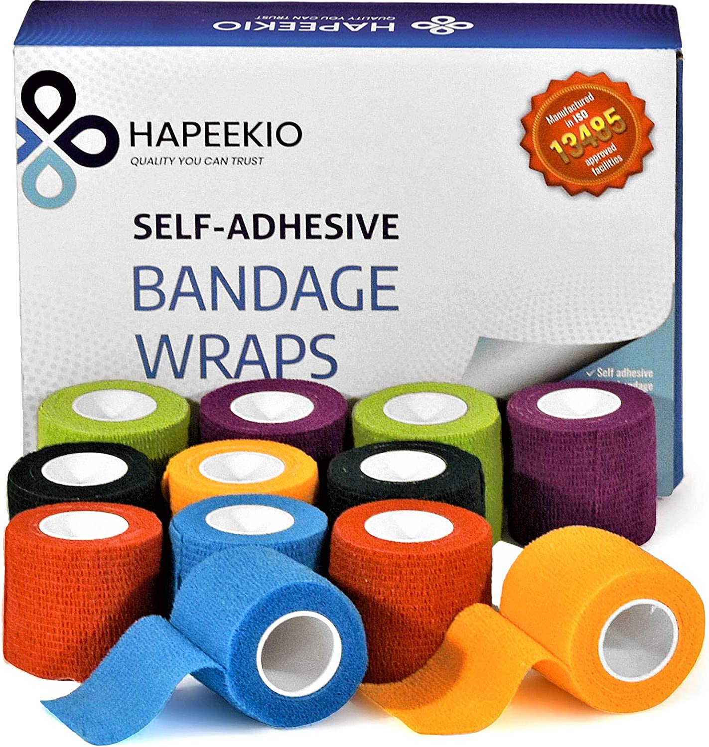 Self Adhesive Cohesive Bandage - Medical Tap - Vet Wrap - Elastic, Breathable, Non-Woven - 6 Beautiful Colors - Athletic Tape for Sports, Injuries, Treatments and Recovery - 12 Pack / 2 Inch x 5 Feet