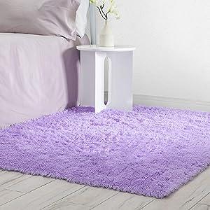 Veken Fluffy Shag Area Rugs for Living Room Bedroom Home Decor Nursery, Machine Washable Indoor Carpets for Girls Boys Kids Room 4x5.3 Feet, Purple