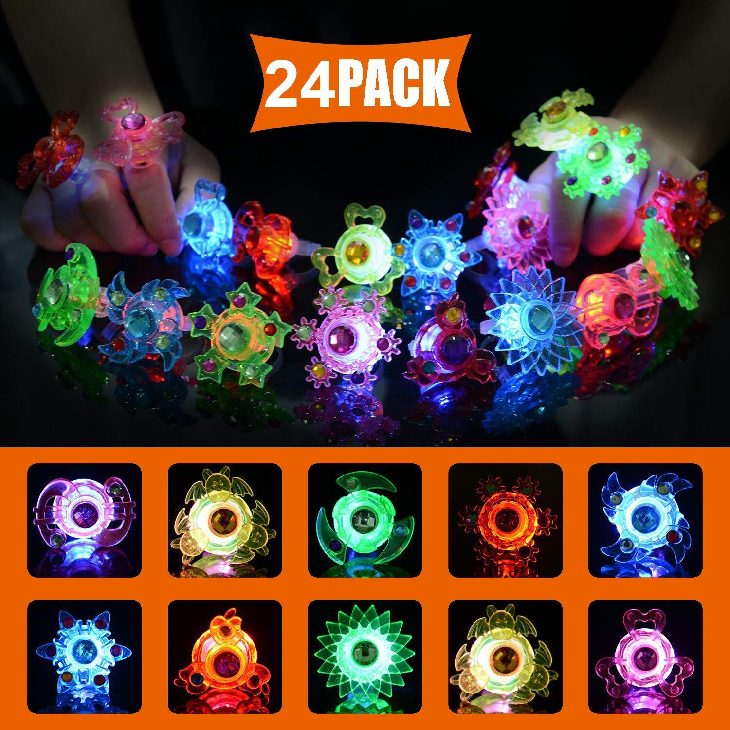Glory Island Light Up Rings, 24 Pack Party Favors for Kids, Spin Stress Relief Anxiety Toys, Boys and Girls LED Neon Flashing Party Supplies by Glory Island