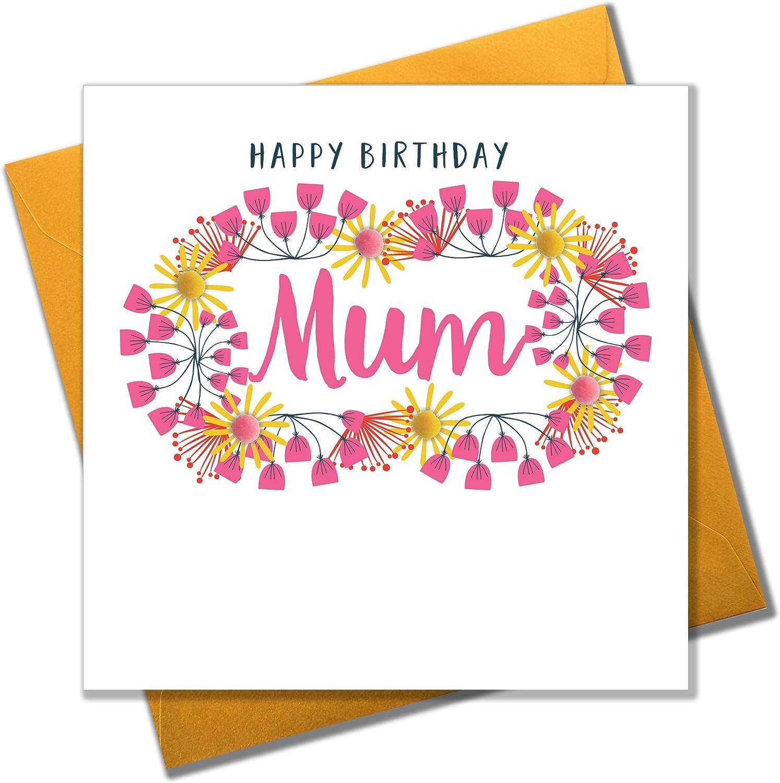 Pom Pom Happy Birthday, Mum Greeting Card Amazon.de Bürobedarf ...