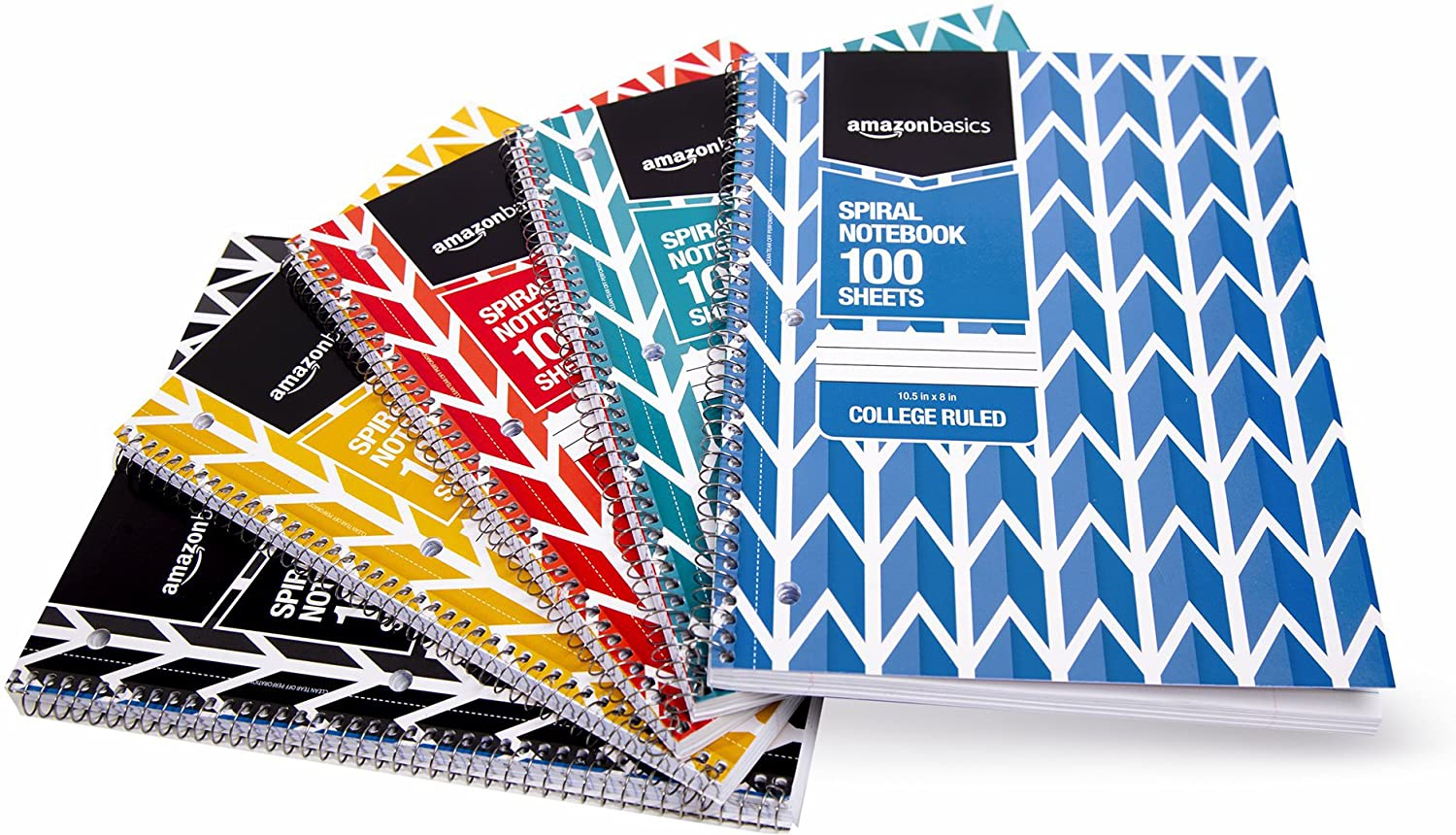 AmazonBasics College Ruled Wirebound Notebook, 100-Sheet, Assorted Lattice Pattern Colors, 5-Pack