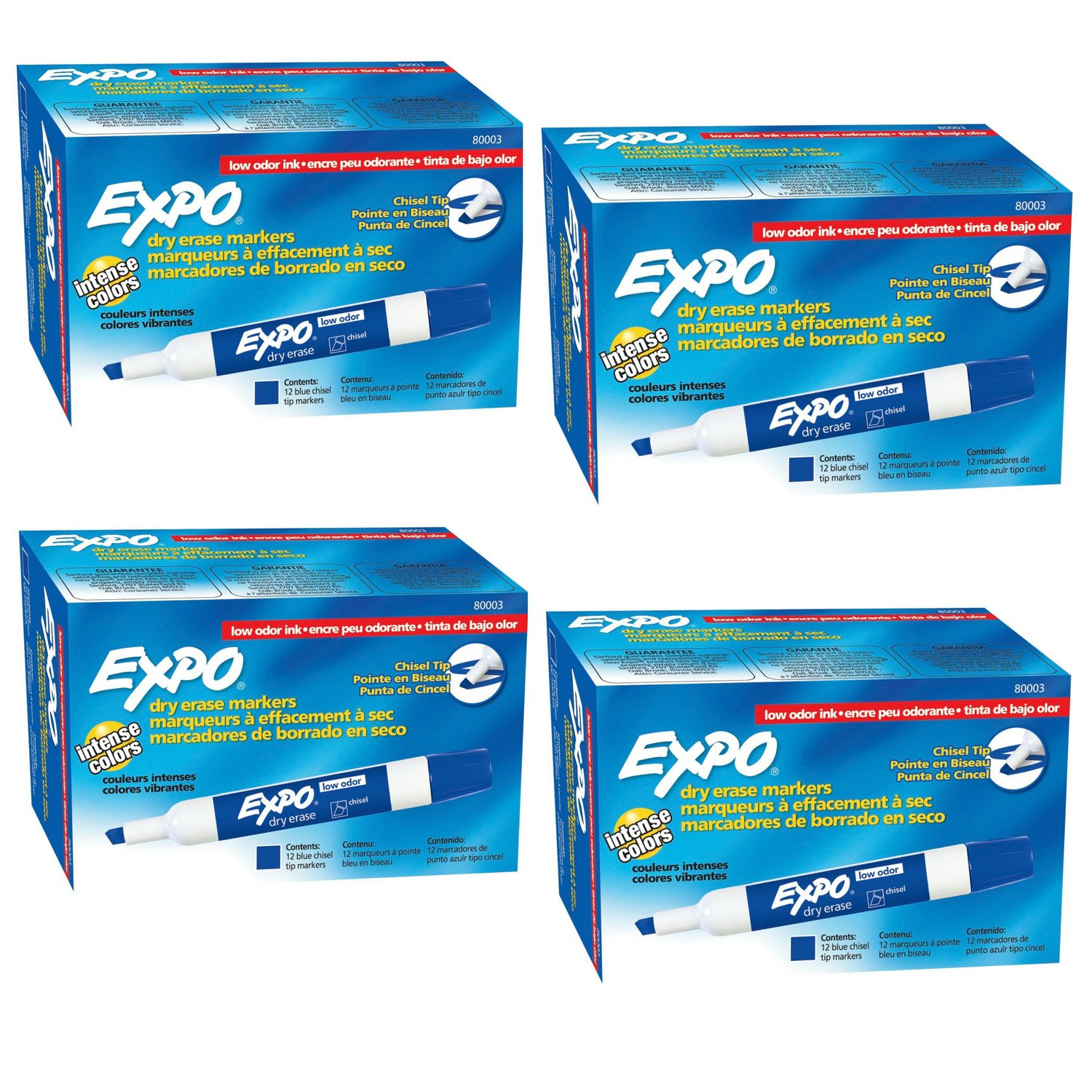 EXPO 80003 Low-Odor Dry Erase Markers, Chisel Tip (4-Box 48Count) by ..EXPO (Image #1)