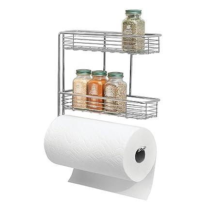MetroDecor mDesign Portarrollos de Cocina – Excelente dispensador de Papel en Metal con estantes para Especias