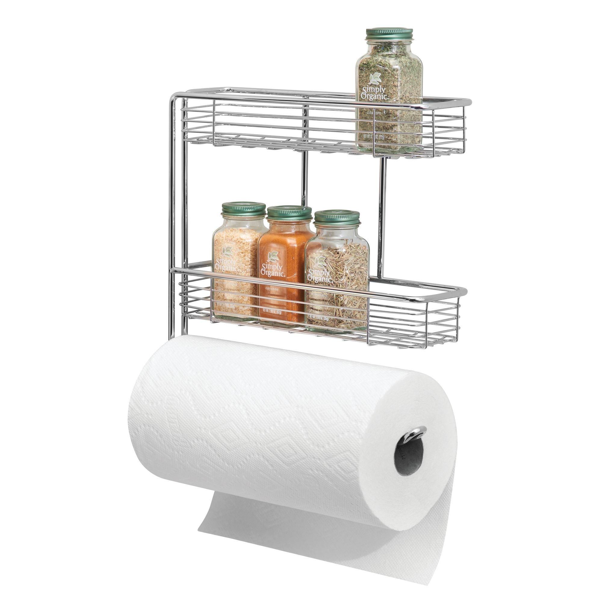 mDesign Wall Mounted Metal Steel Paper Towel Roll Holder/Dispenser Rack Organizer - Two Tier Shelves for Glass Spice Bottles Jars Organization - use for Kitchen and Pantry Storage - Chrome