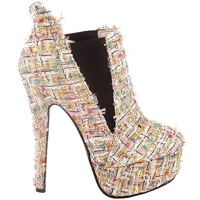 08457a8299 SHOW STORY Elegant Beige Gold Weave Platform High Heel Stiletto Ankle  Boots,LF80843AB35,4US