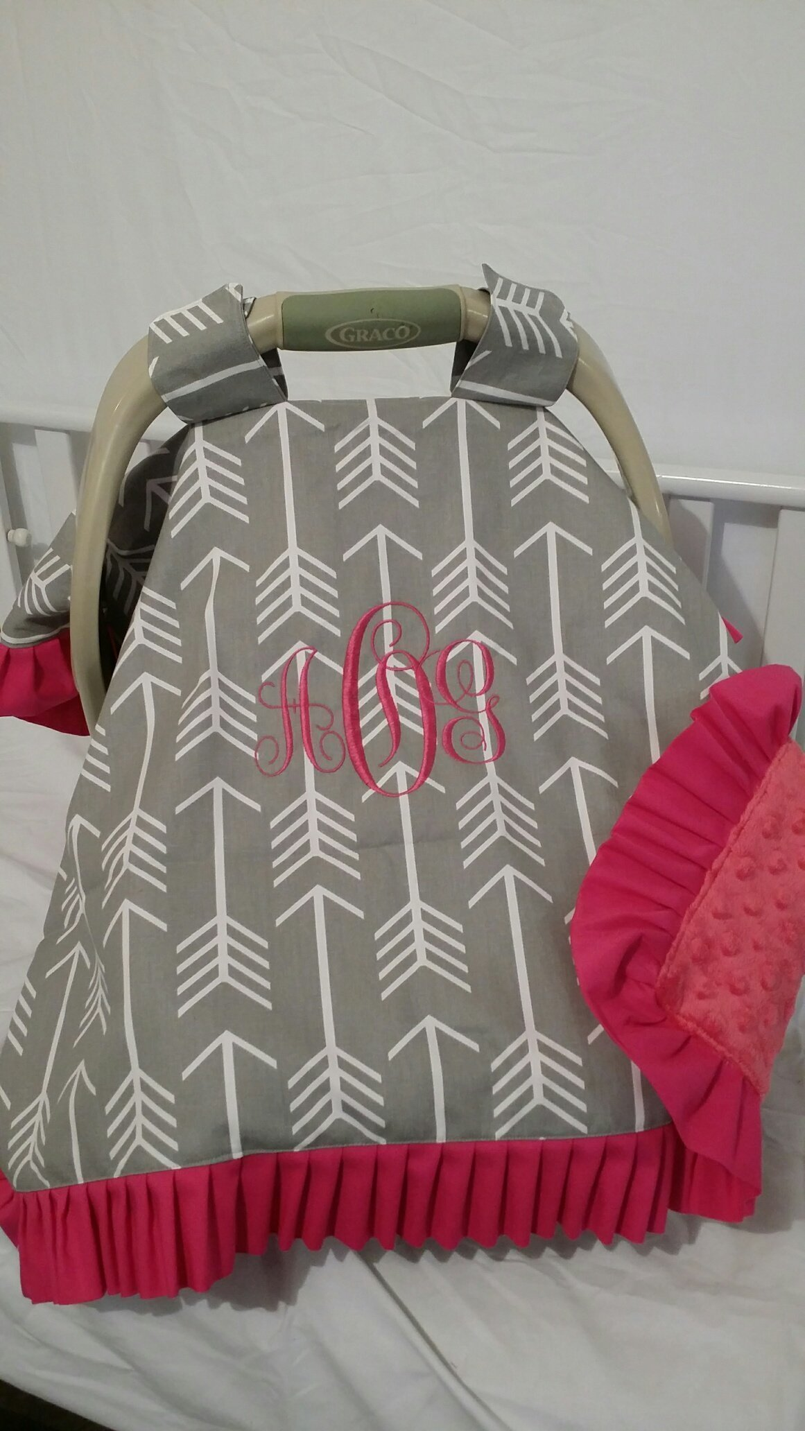 Car seat cover, canopy, Doubles as a blanket, Infant carrier cover, handle straps Embroidered, personalized, monogrammed, Any theme, Protect your baby from weather and sickness by CozyCreations Heather Reynolds